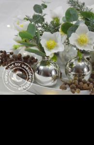 Weihnachtliche Tischdeko mit Christrosen