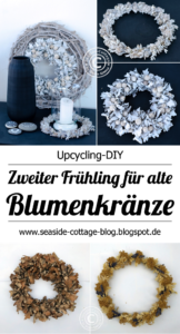 Upcycling Blumenkranz auffrischen, Deko in schwarz weiß